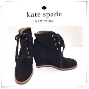 Kate Spade Suede Lace up Wedge Ankle Bootie